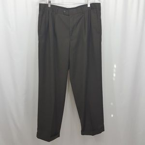 Perry Ellis brown pleated cuffed dress pants